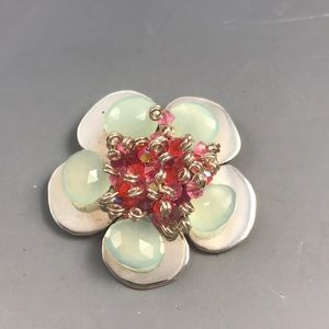 Flower Pin Brooch Sterling Chalcedony and Crystals